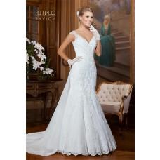 Mermaid V Neck Cap Sleeve Tulle Lace Beaded Wedding Dress With Detachable Train