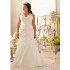 Mermaid V Neck Lace Satin Ruched Plus Size Wedding Dress With Buttons