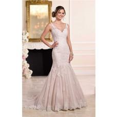 Mermaid V Neck Low Back Dusty Pink Satin Ivory Lace Wedding Dress