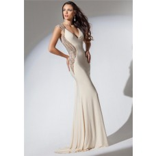 Mermaid V Neck Open Back Ivory Chiffon Beaded Long Evening Prom Dress
