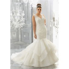 Mermaid V Neck Open Back Lace Organza Ruffle Layered Plus Size Wedding Dress