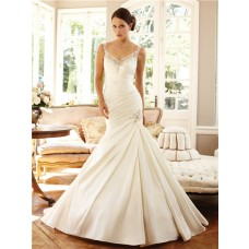 Mermaid V Neck Straps Sheer Back Taffeta Ruched Wedding Dress With Embroidery Crystal