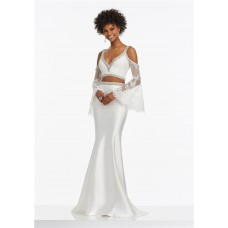 Mermaid V Neck Two Piece White Satin Beaded Prom Dress With Trumpet Lace Sleeves