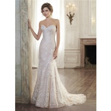 Mermiad Strapless Sweetheart Applique Lace Wedding Dress With Buttons
