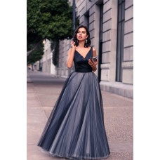 Modern A Line V Neck Long Navy Satin Tulle Pleated Prom Dress