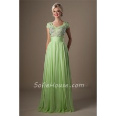 Modest A Line Cap Sleeve Light Green Chiffon Beaded Long Prom Dress
