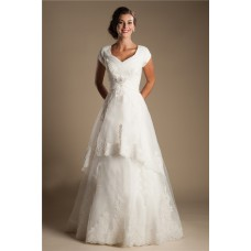 Modest A Line Cap Sleeve Tulle Lace Corset Wedding Dress