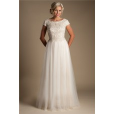 Modest A Line Champagne Colored Tulle Beaded Wedding Dress With Sleeves