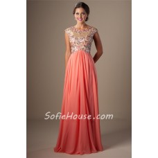 Modest A Line Empire Waist Long Coral Chiffon Beaded Prom Dress Cap Sleeves