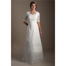 Modest A Line High Back Short Sleeve Lace Sparkly Wedding Dress