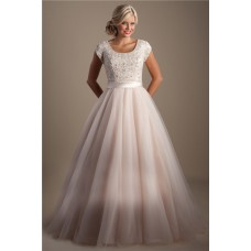 Modest A Line Scoop Neck Cap Sleeve Blush Pink Tulle Beaded Wedding Dress With Sash