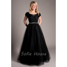 Modest A Line Short Sleeve Black Tulle Beaded Prom Dress