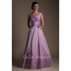 Modest A Line Sleeve Long Lilac Taffeta Evening Prom Dress With Flowers