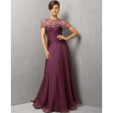 Modest A Line Strapless Long Purple Chiffon Evening Dress With Beaded Jacket