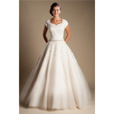 Modest Ball Gown Sweetheart Cap Sleeve Lace Tulle Wedding Dress With Buttons