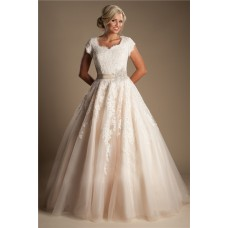 Modest Ball Gown Short Sleeve Champagne Colored Lace Wedding Dress With Sash