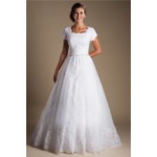 Modest Ball Gown Short Sleeve White Tulle Lace Wedding Dress With Buttons