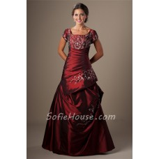Modest Ball Gown Square Neck Burgundy Taffeta Embroidery Prom Dress With Sleeves