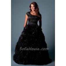 Modest Ball Gown Square Neck Cap Sleeve Black Organza Ruffle Corset Prom Dress