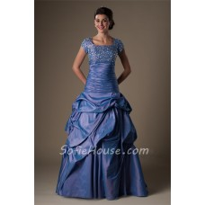 Modest Ball Gown Square Neck Cap Sleeve Drop Waist Periwinkle Taffeta Prom Dress