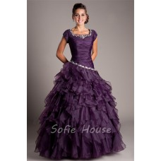 Modest Ball Gown Square Neck Dark Purple Organza Ruffle Prom Dress With Sleeves