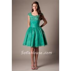 Modest Ball Gown Sweetheart Cap Sleeve Emerald Green Organza Beaded Short Prom Dress
