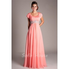 Modest Empire Waist Long Coral Chiffon Beaded Prom Dress With Sleeves