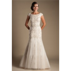 Modest Mermaid Boat Neck Cap Sleeve Tulle Embroidery Beaded Wedding Dress