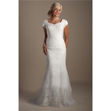 Modest Mermaid Queen Anne Neckline Cap Sleeve Court Train Lace Wedding Dress