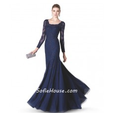 Modest Mermaid Scalloped Neck Long Sleeve Navy Blue Tulle Lace Beaded Evening Dress