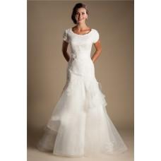 Modest Mermaid Scoop Neck Cap Sleeve Organza Ruffle Lace Wedding Dress With Sash