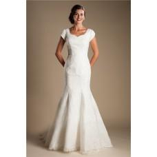 Modest Mermaid Sweetheart Cap Sleeve Lace Wedding Dress With Bow Sash