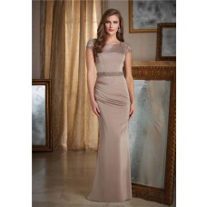 Modest Sheath Boat Neck Cap Sleeve Light Brown Chiffon Evening Dress With Sash