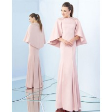 Modest Sheath High Neck Full Back Blush Pink Satin Evening Dress With Wrap