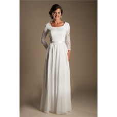 Modest Sheath Scoop Neck Long Lace Sleeve Chiffon Beach Garden Wedding Dress