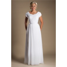 Modest Sheath Sleeve Ruched Chiffon Destination Beach Wedding Dress With Belt