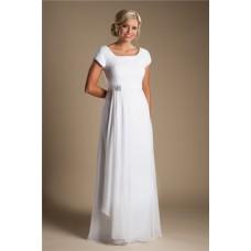 Modest Sheath Sleeve White Chiffon Garden Beach Wedding Dress Without Train