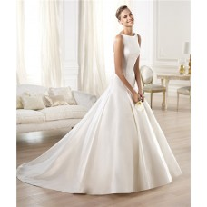 Modest Simple A Line Bateau Neckline Satin Wedding Dress With Buttons
