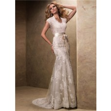 Modest Slim High Neck Covered Back Lace Wedding Dress With Ribbon Sash