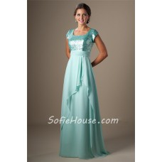 Modest Square Neck Cap Sleeve Long Aqua Sequined Chiffon Corset Prom Dress