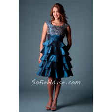 Modest Square Neck Cap Sleeve Short Teal Taffeta Layered Ruffle Beaded Prom Dress