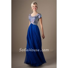 Modest Sweetheart Empire Waist Long Royal Blue Chiffon Beaded Prom Dress With Sleeves