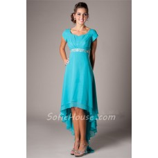 Modest Sweetheart Short Sleeve Aqua Chiffon High Low Party Prom Dress