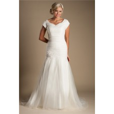 Modest Trumpet Mermaid Ruched Organza Wedding Dress With Sleeves