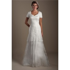 Modest Trumpet Mermaid Scalloped Neckline Short Sleeve Lace Wedding Dress
