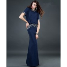 Modest sheath high neck long navy blue beading chiffon evening dress with sleeves