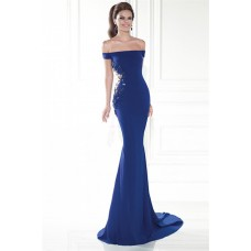 Off The Shoulder Royal Blue Satin Applique Evening Occasion Dress With Train