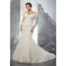 Off The Shoulder Three Quarter Sleeve Lace Plus Size Wedding Dress