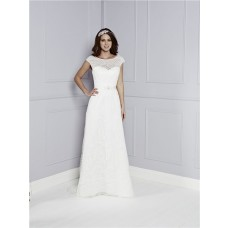 Perfect Destination Sheath Boat Neck Cap Sleeve Deep V Back Lace Wedding Dress With Sash
