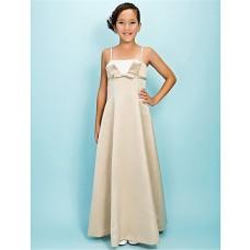 Pretty A line Spaghetti Strap Long Champagne Satin Junior Bridesmaid Dress